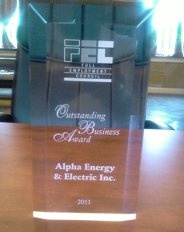 Alpha Energy and Electric, Inc  is a Proud Recipient Of 2011 FEC Outstanding Business Partner Award