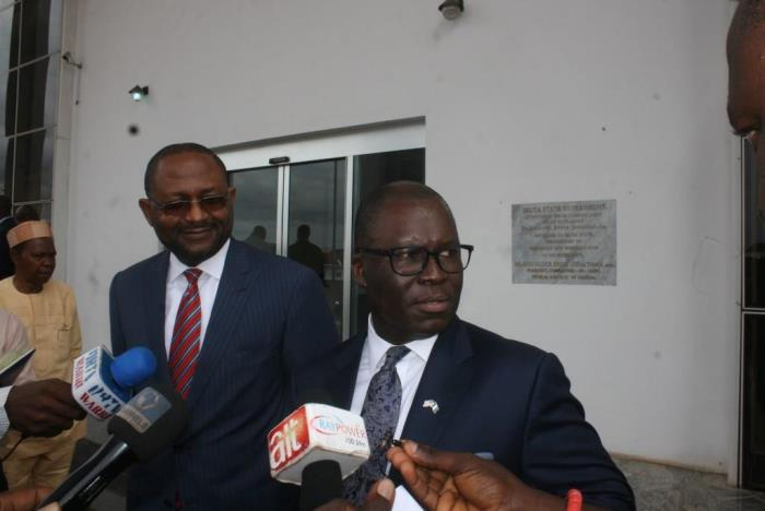 Gabriel Okafor (President), with Ike Nwabuonwu (Chairman), Alpha Energy and Electric, addressing the Press after the MoU Signing