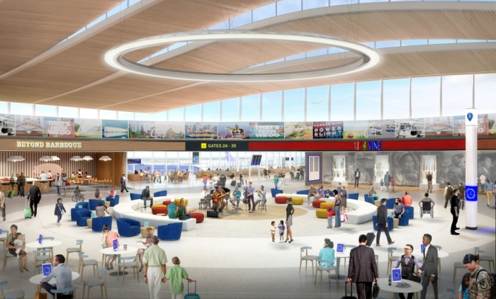 The New KCI Airport which features a two-story fountain anchoring the sleek, modern, initial design