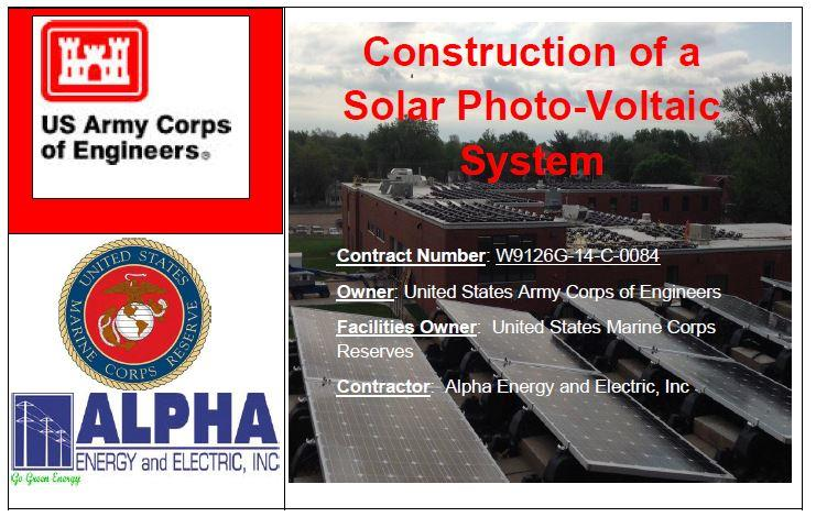 Alpha Energy and Electric, Inc., wins a major Construction of a Solar Photo-Voltaic System Project owned by United States Army Corps of Engineers